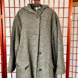 Eddie Bauer Long Wool Tweed Hooded Coat